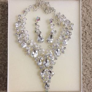 Formal Prom Party Necklace Earrings Set